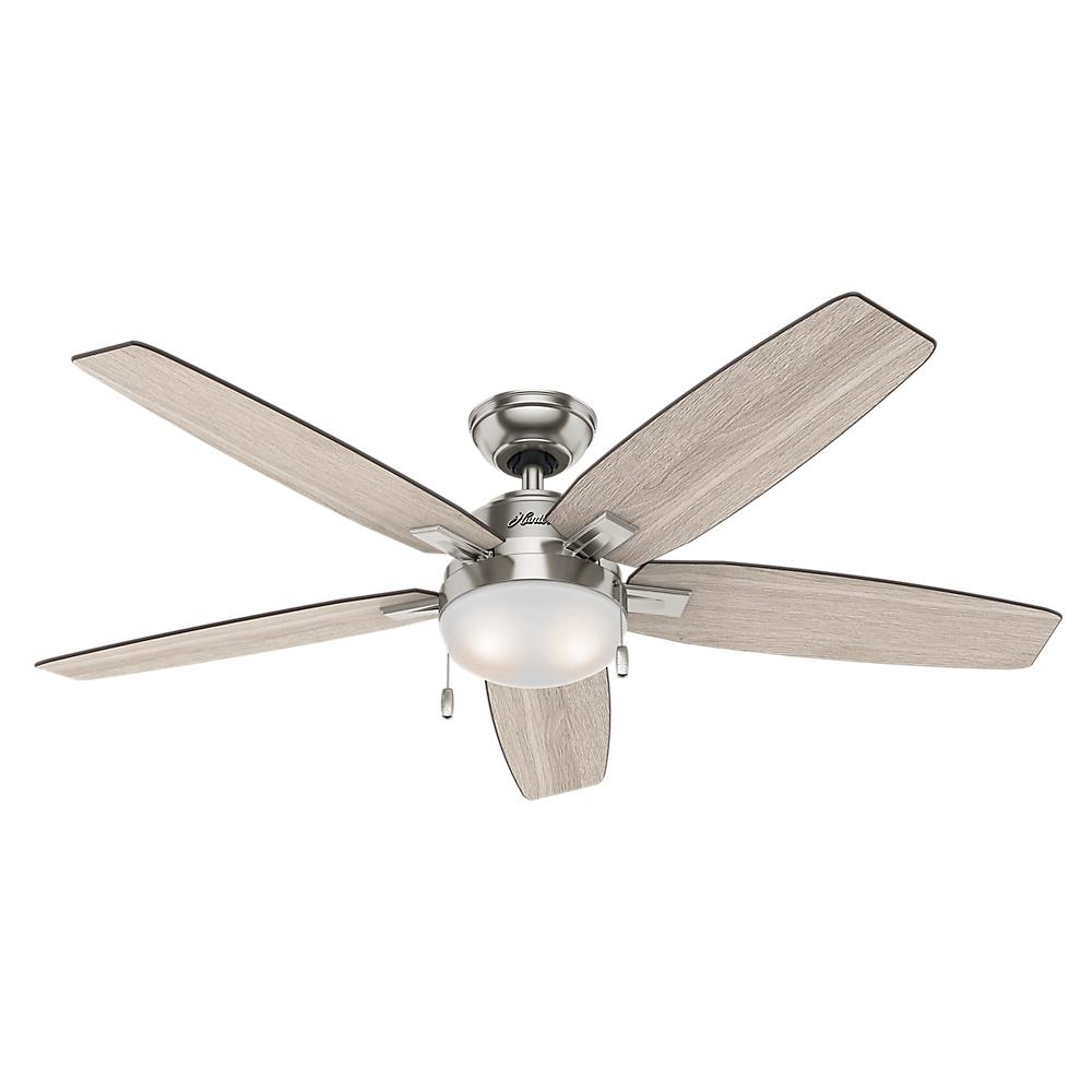 hunter ceiling fans with lights hunter antero 54 in. led indoor brushed nickel ceiling fan with light vhckysr