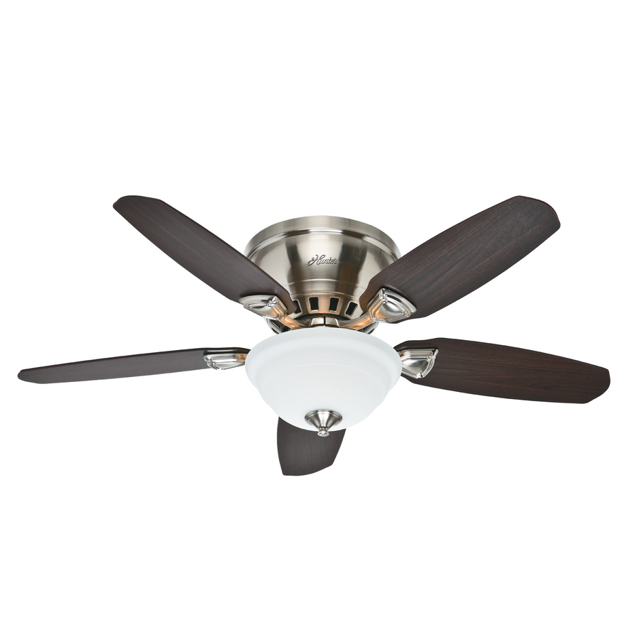 hunter ceiling fans with lights hunter louden 46-in brushed nickel indoor flush mount ceiling fan with light gvjyolb