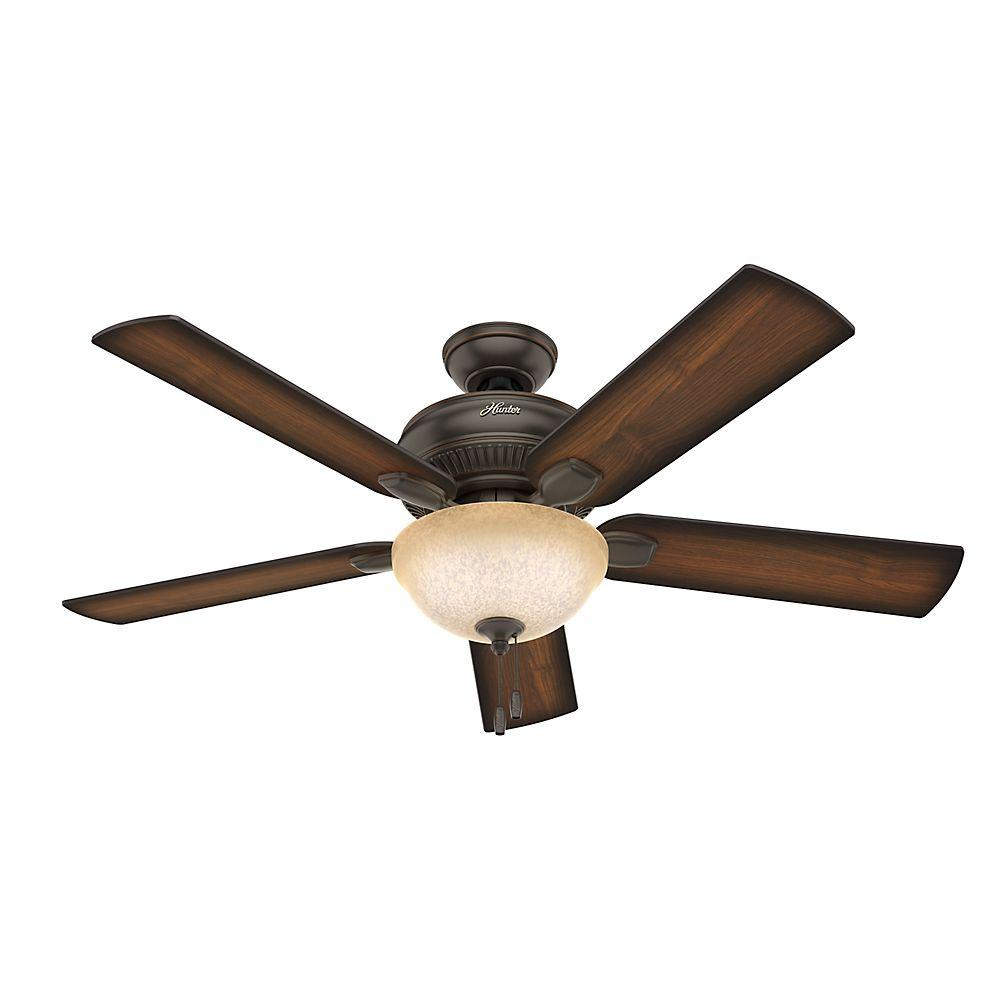 hunter ceiling fans with lights hunter matheston 52 in. indoor onyx bengal bronze ceiling fan with light kit muuwqny
