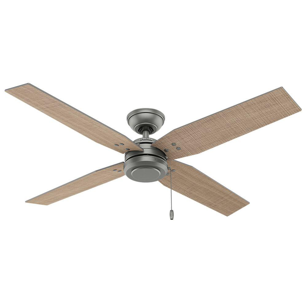 hunter outdoor ceiling fans hunter commerce 54 in. indoor/outdoor matte silver ceiling fan ikqjsri