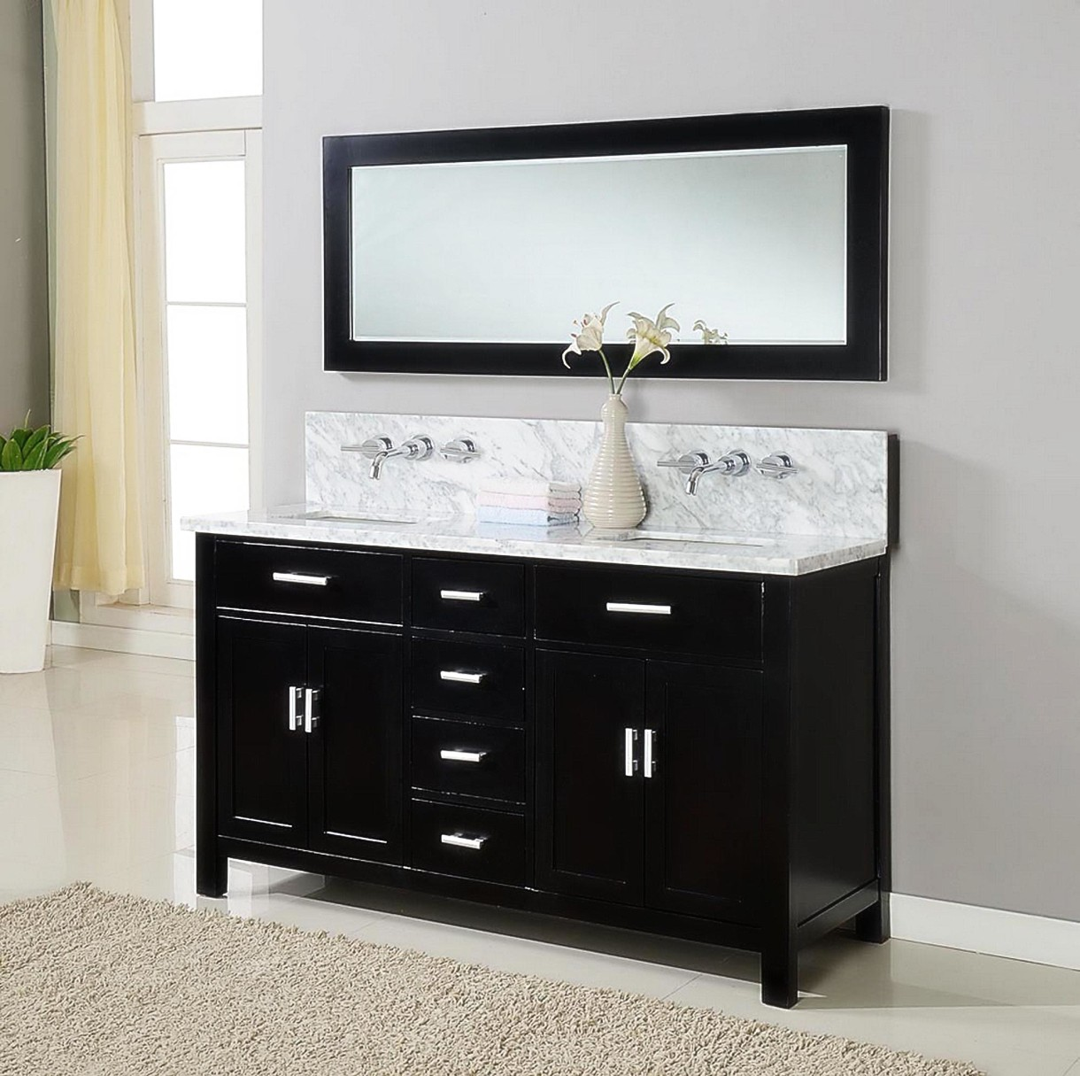 image of: black narrow bathroom vanities dullueb