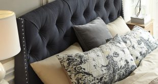 king/california king upholstered headboard in dark gray with tufting and  nailhead trim bylbvnt