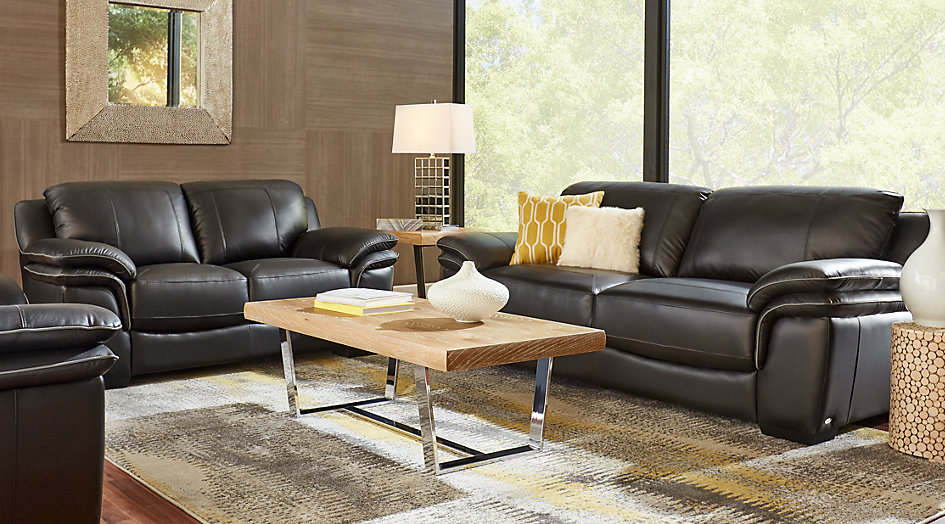 leather living room furniture sets cindy crawford home grand palazzo black leather 3 pc living room mlgoagq