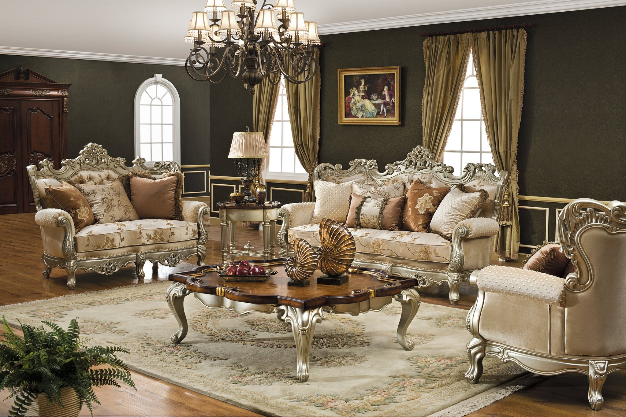 luxury living room furniture the caesar formal living room collection in antique silver - living room. hdblkjz