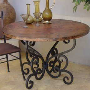 nice wrought iron dining table base... would look great with qjmejps