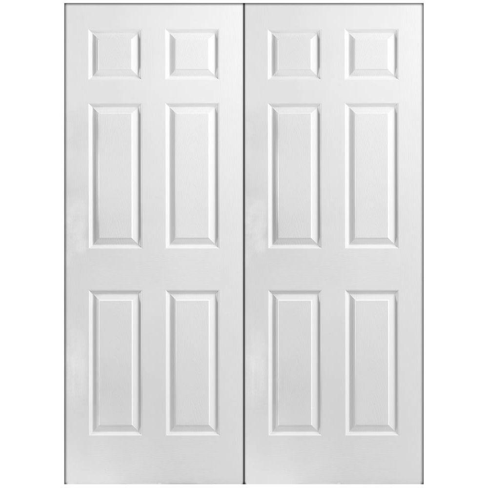 prehung interior french doors 48 in. x 80 in. 6-panel primed white hollow-core textured fiehgbd