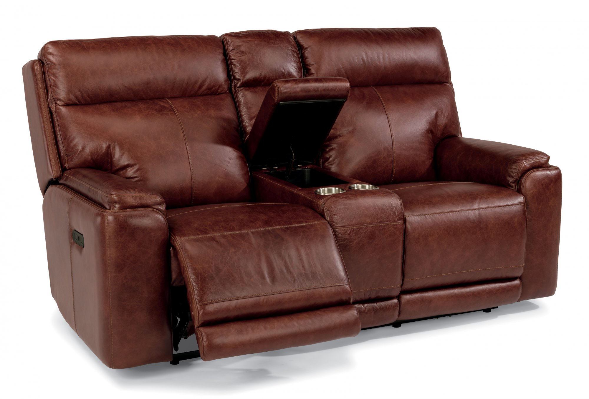 reclining leather loveseat leather power reclining loveseat with console and power headrests lhukuai