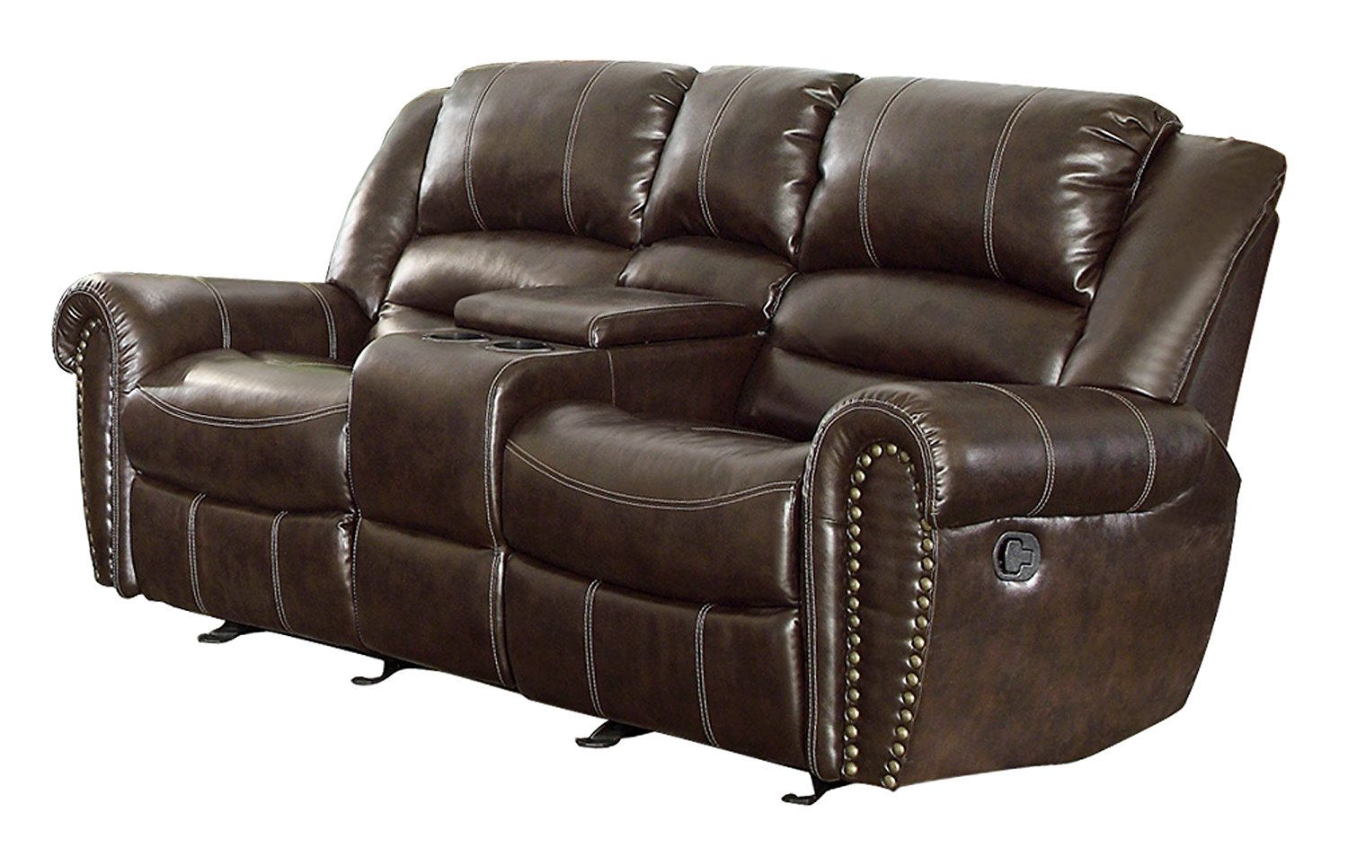 reclining loveseat with center console amazon.com: homelegance 9668brw-2 double glider reclining loveseat with center  console, brown bonded bcxwtno
