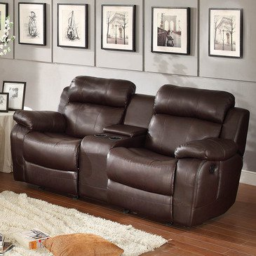 reclining loveseat with center console homelegance marille double glider reclining loveseat w/ center console in  brown leather nlddkri