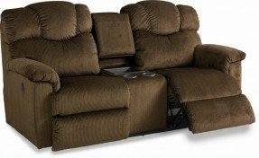 reclining loveseat with center console la-z-time® full reclining loveseat with console and cup edfcqjh