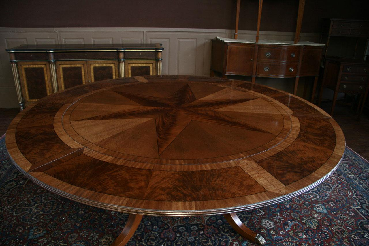 round dining table with leaf round mahogany dining table shown with leaves, seats 10 people. jhqofre