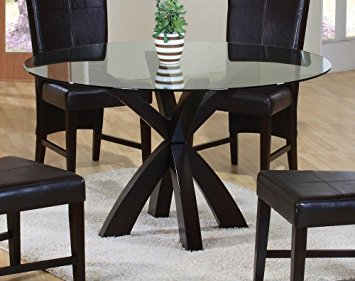 round glass dining table coaster top in rich cappuccino dining table with round glass mbzrcqv