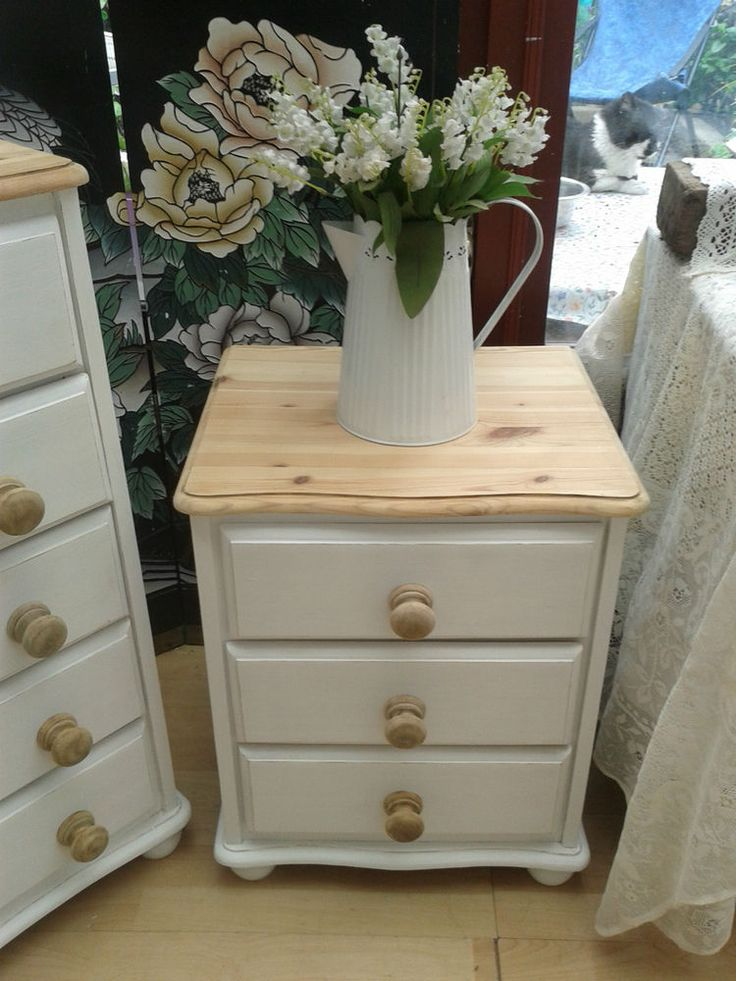 shabby chic bedside table lovely shabby chic pine bedside 3 draw chest painted white u0026 natural waxed gwysrci