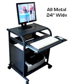 small black computer desk 24 inch narrow black all metal computer cart. portable small mobile computer oojanfr