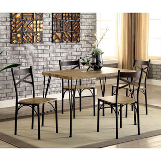 small dining room table and chairs furniture of america hathway industrial 5-piece dark bronze small dining set qxypzfx