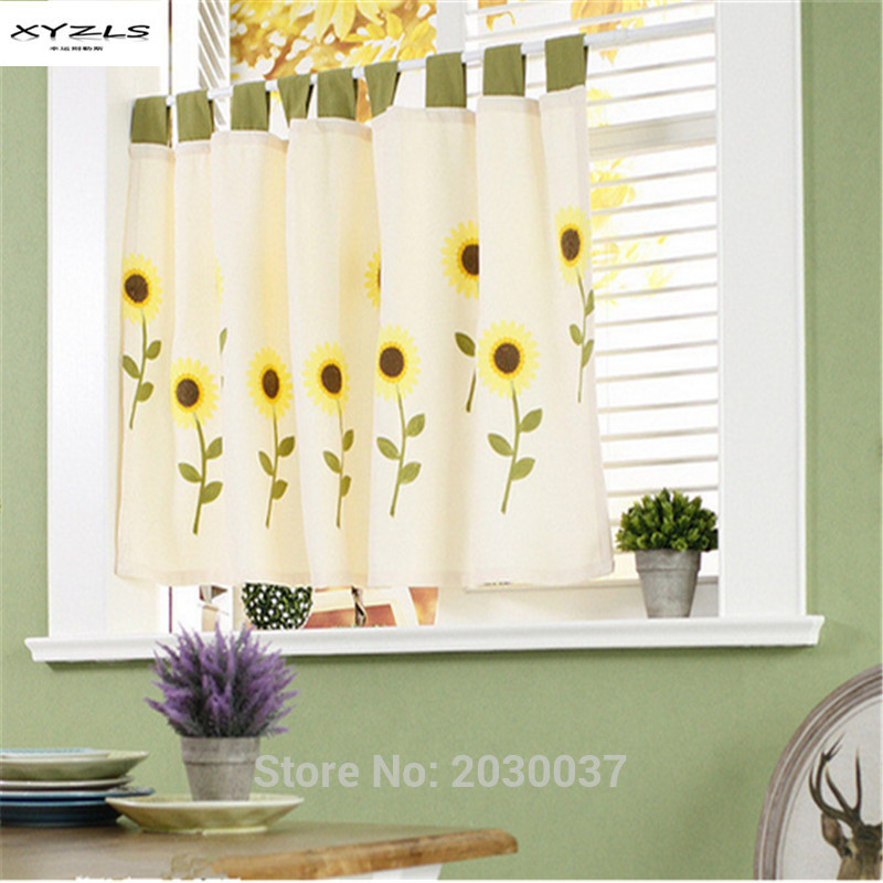 sunflower kitchen curtains xyzls pastoral style sunflower tap top blinds half curtains for living room kitchen pcqpgfv