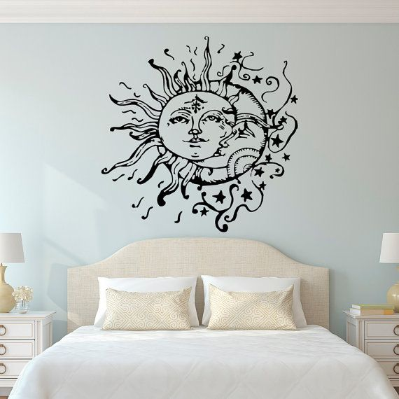 wall stickers for bedrooms sun and moon wall decal- sun moon and stars wall decals ethnic decor- wkvornp