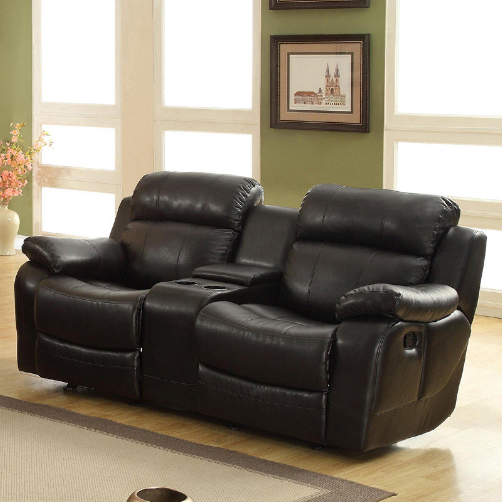 weston home darrin leather reclining loveseat with console - black xaadxdr