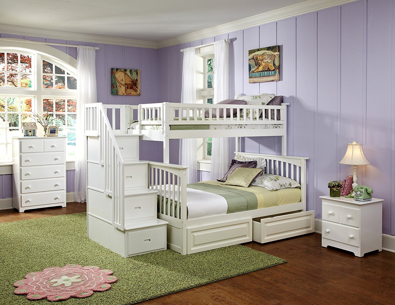 white bunk beds with stairs amazon.com: columbia staircase bunk bed with 2 raised panel bed drawers,  twin sanfuwi