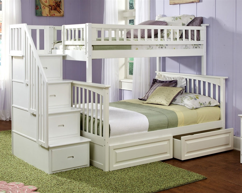 white bunk beds with stairs atlantic furniture white twin full staircase bunk bed and kids bedroom  furniture pmupjbz