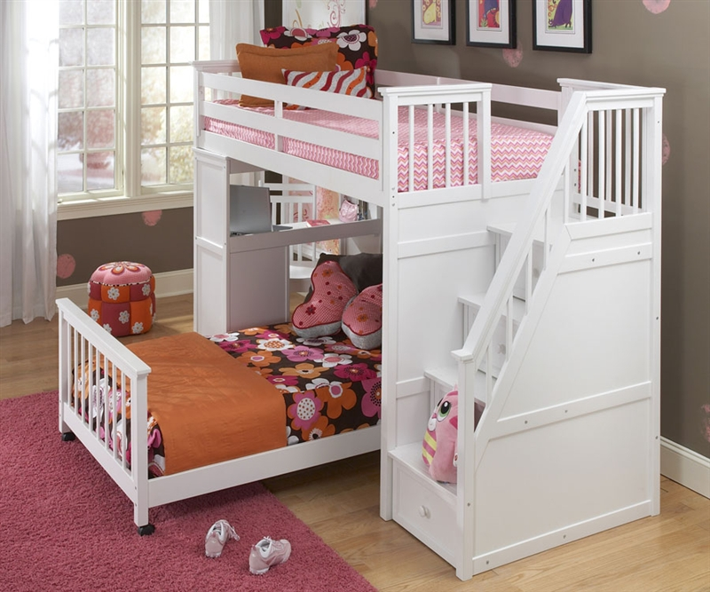 white bunk beds with stairs ne kids school house stair loft bed in white model 7090 staircase loft usgitnu