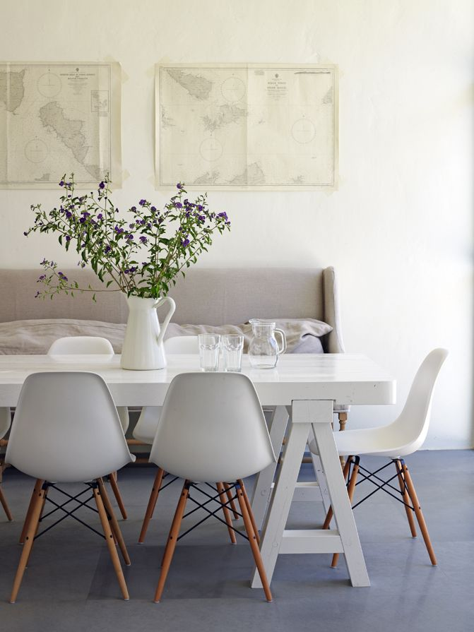 white dining table and chairs calming colors in dining room | eames dowel leg chair | smartfurniture.com xmwjvtm