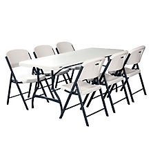 white folding table and chairs lifetime combo-one 6u0027 commercial grade folding table and 6 folding chairs,  white ytzqzdk