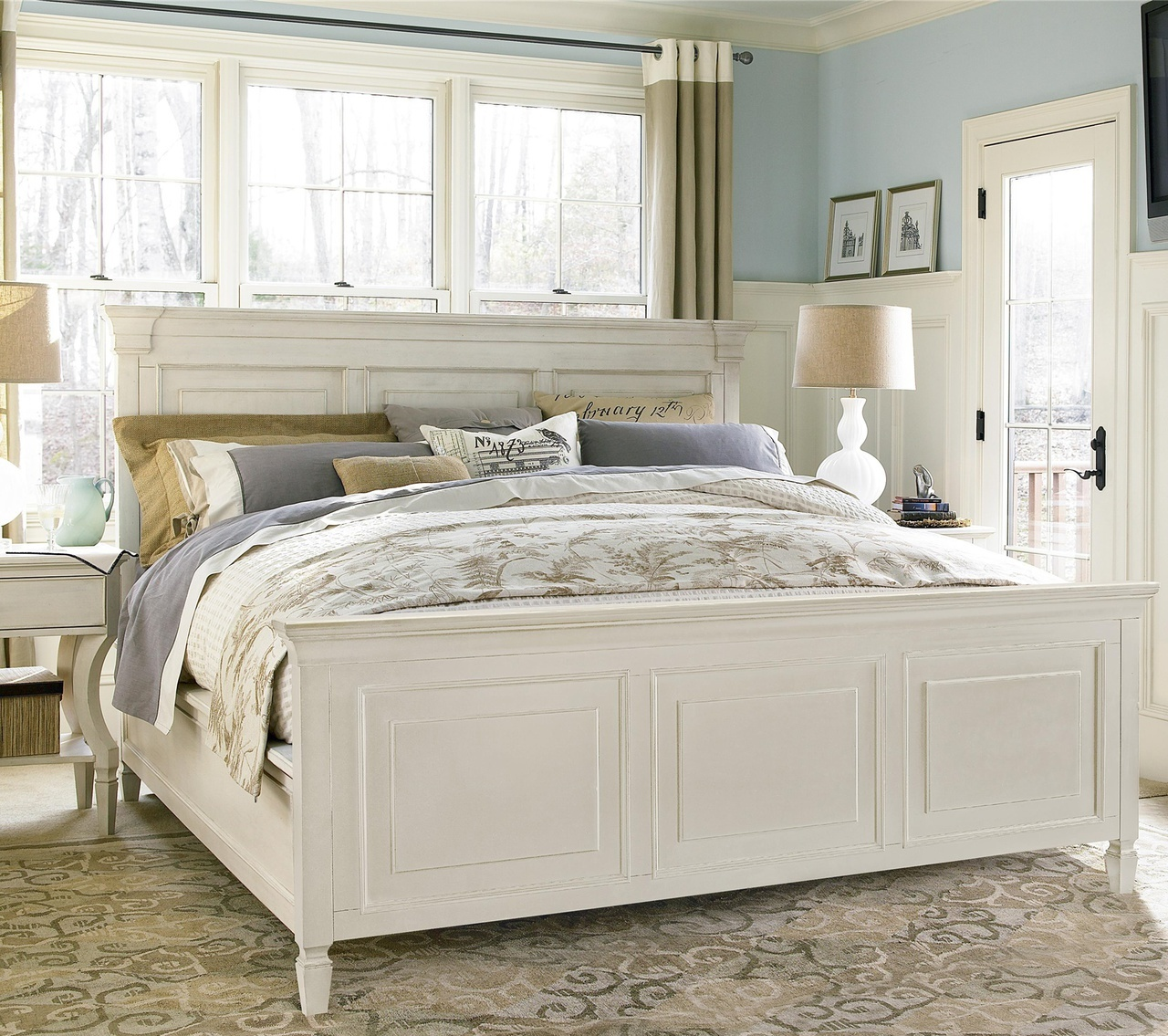 white king size bed frame country-chic white king panel bed frame ... ilpxcud
