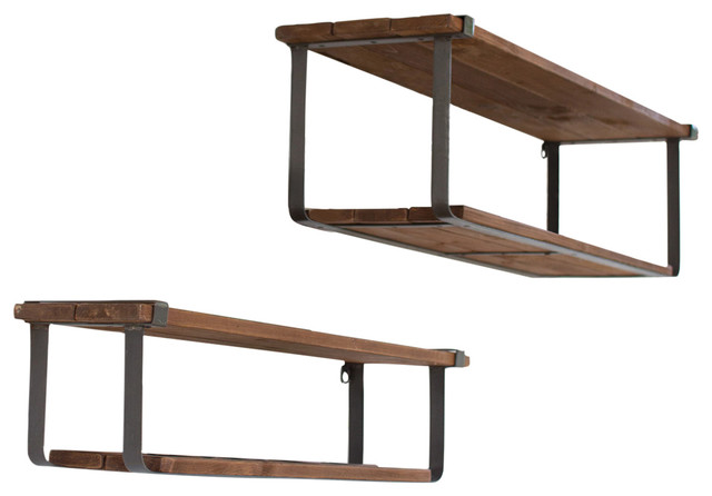 wood and metal wall shelves recycled wood and metal shelves, 2-piece set industrial-display-and- duktckp