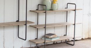 wood and metal wall shelves ... three tiered metal tube frame wall shelf with wooden shelves,  industrial pcnmpds