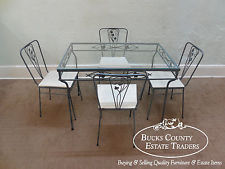 wrought iron dining table vintage wrought iron 5 piece patio table u0026 chairs dining set juwfbzz