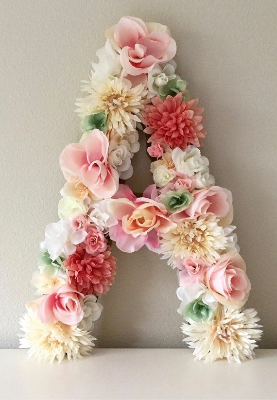 Amazing baby shower decorations for girl floral letters from begoniaroseco on etsy, handmade, floral decor, home  decor, wedding. wiapued
