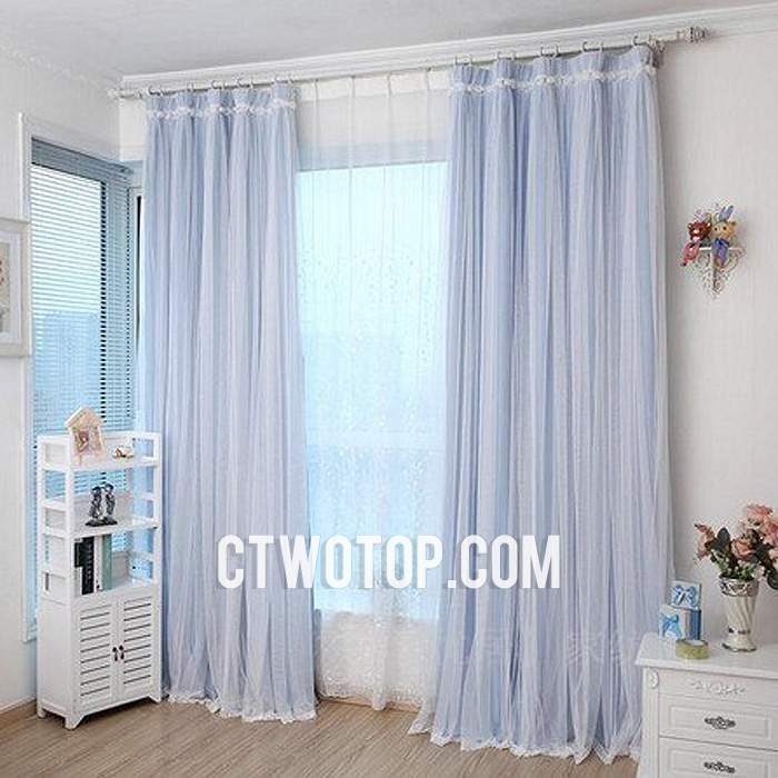 Amazing light blue blackout curtains baby blue blackout custom read made simple lace curtains with rose lace kiglhex