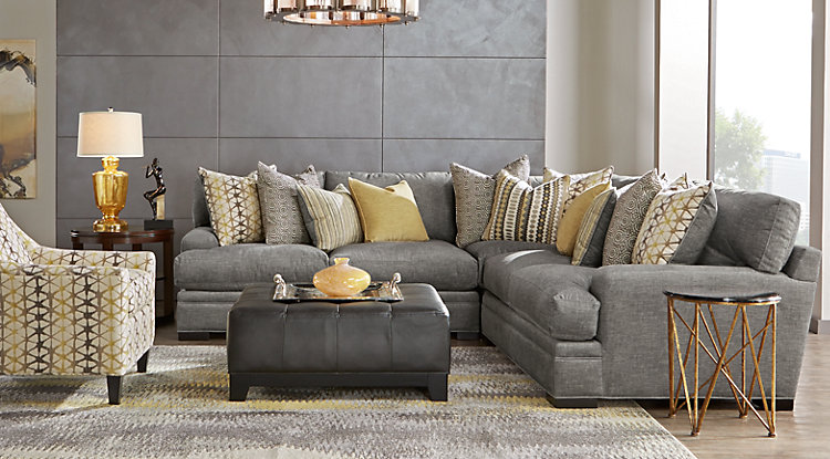 Amazing living room furniture sets cindy crawford home palm springs gray 3 pc sectional pbolzbz