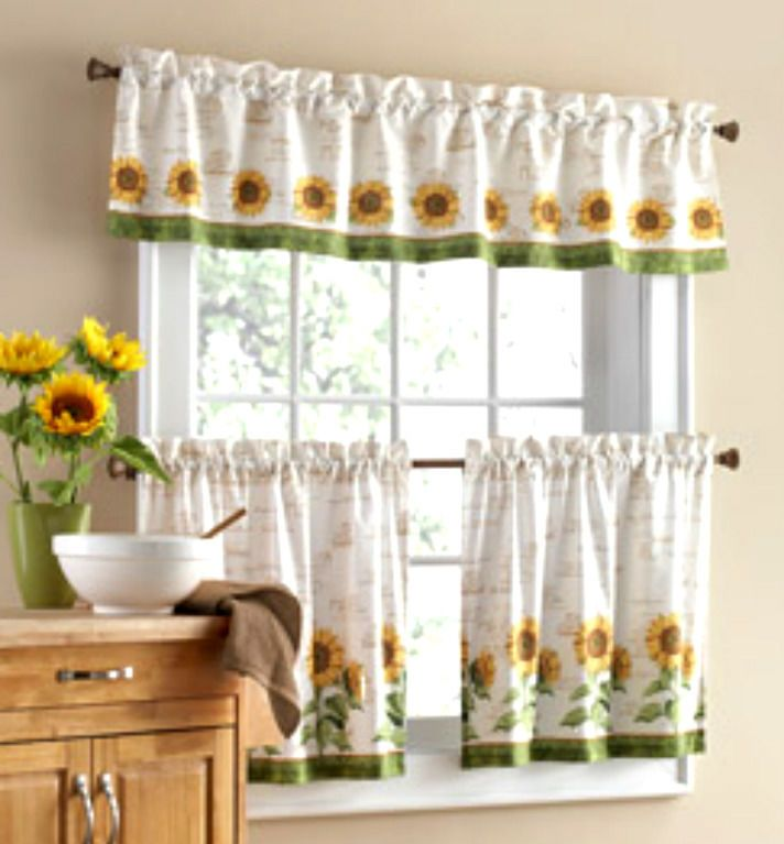Amazing sunflower kitchen curtains 3 pc sunflower theme curtains 2 tiers with valance kitchen home decor nip luaaqrd