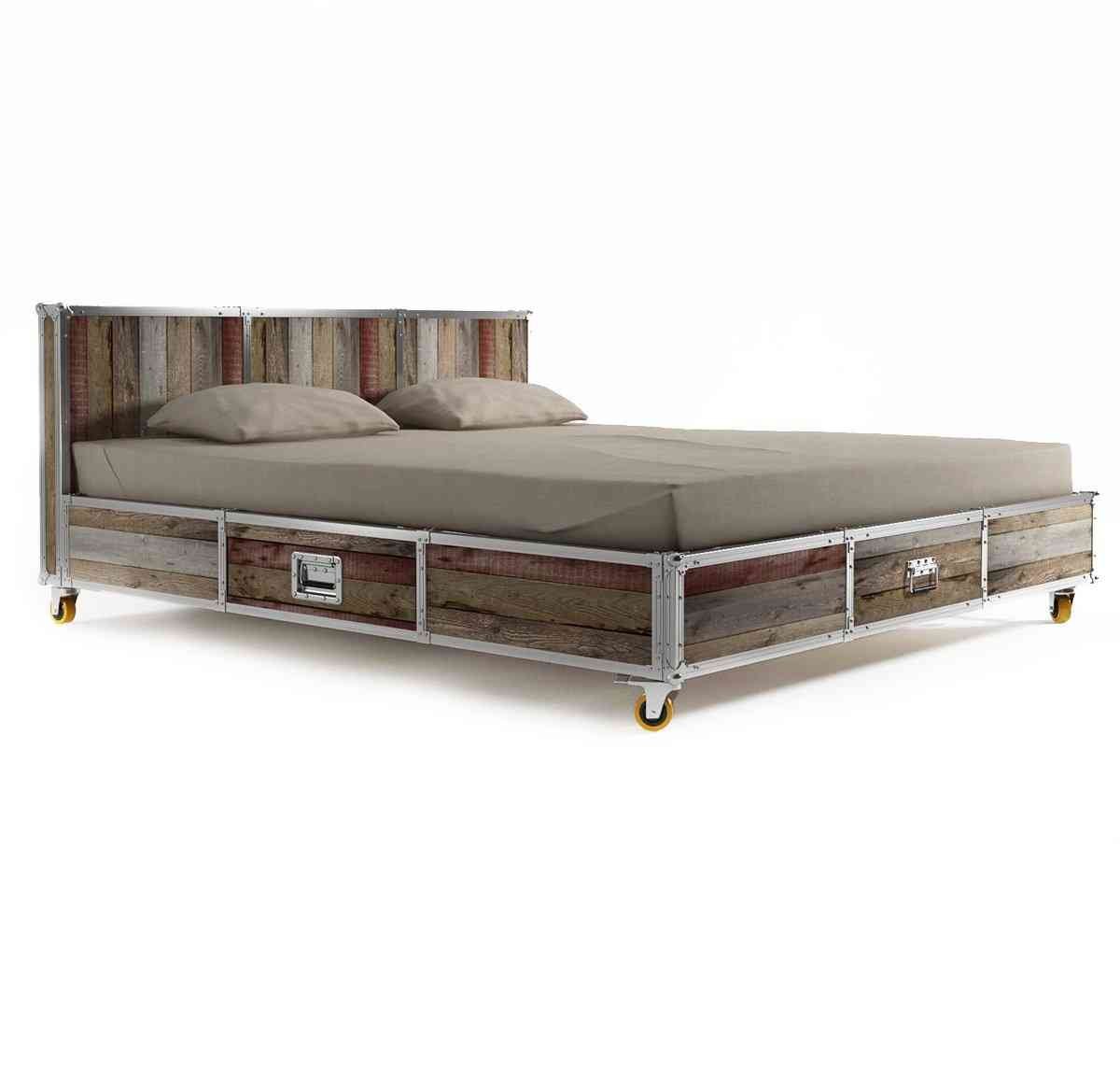 Attractive fantastic king size bed frame with drawers, industrial style wood and iron king wnsoatk