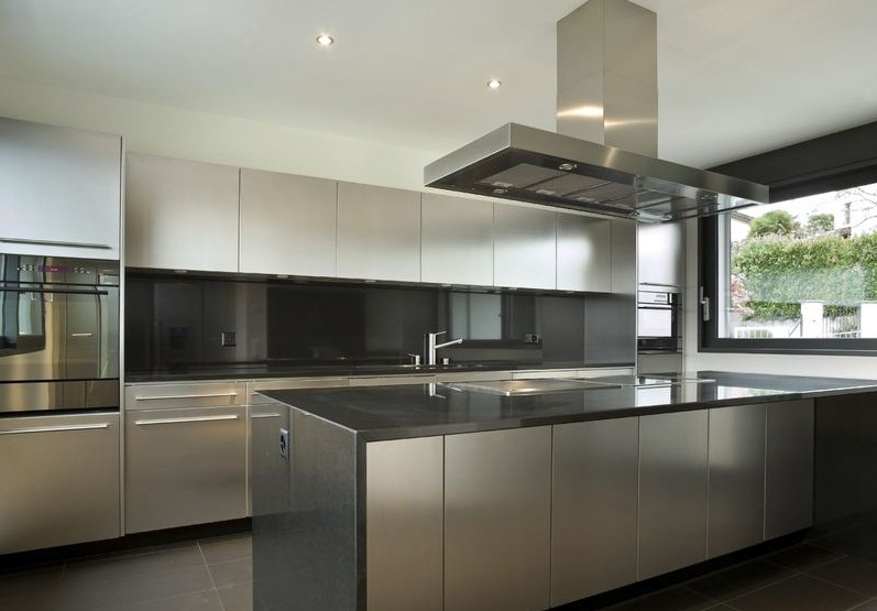 Attractive stainless steel kitchen cabinets contemporary stainless steel kitchen 2 sjzftwq