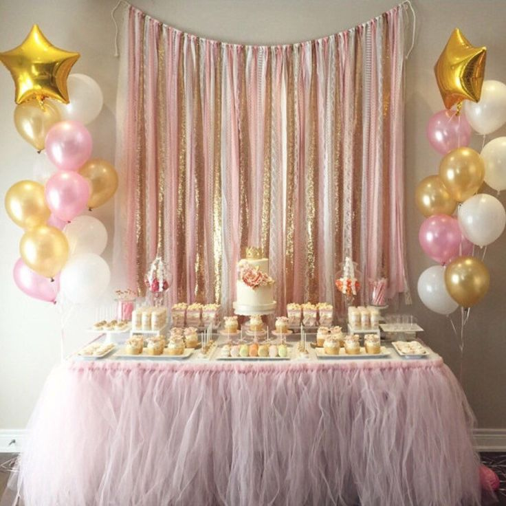 Awesome baby shower table decorations pink u0026 gold garland backdrop - birthday, baby shower, wedding ... fabric tuuulfc