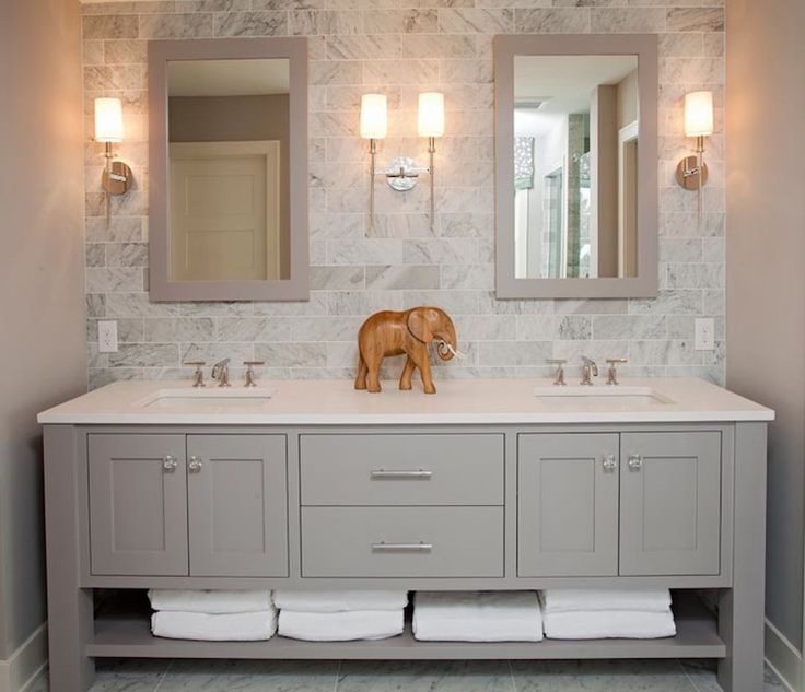 Awesome bathroom cabinets and vanities refined llc: exquisite bathroom with freestanding gray double sink vanity  topped with kooxidb