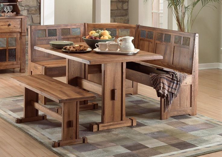 Awesome dining room sets with bench wood kitchen table with bench seating designs ideas ussviir