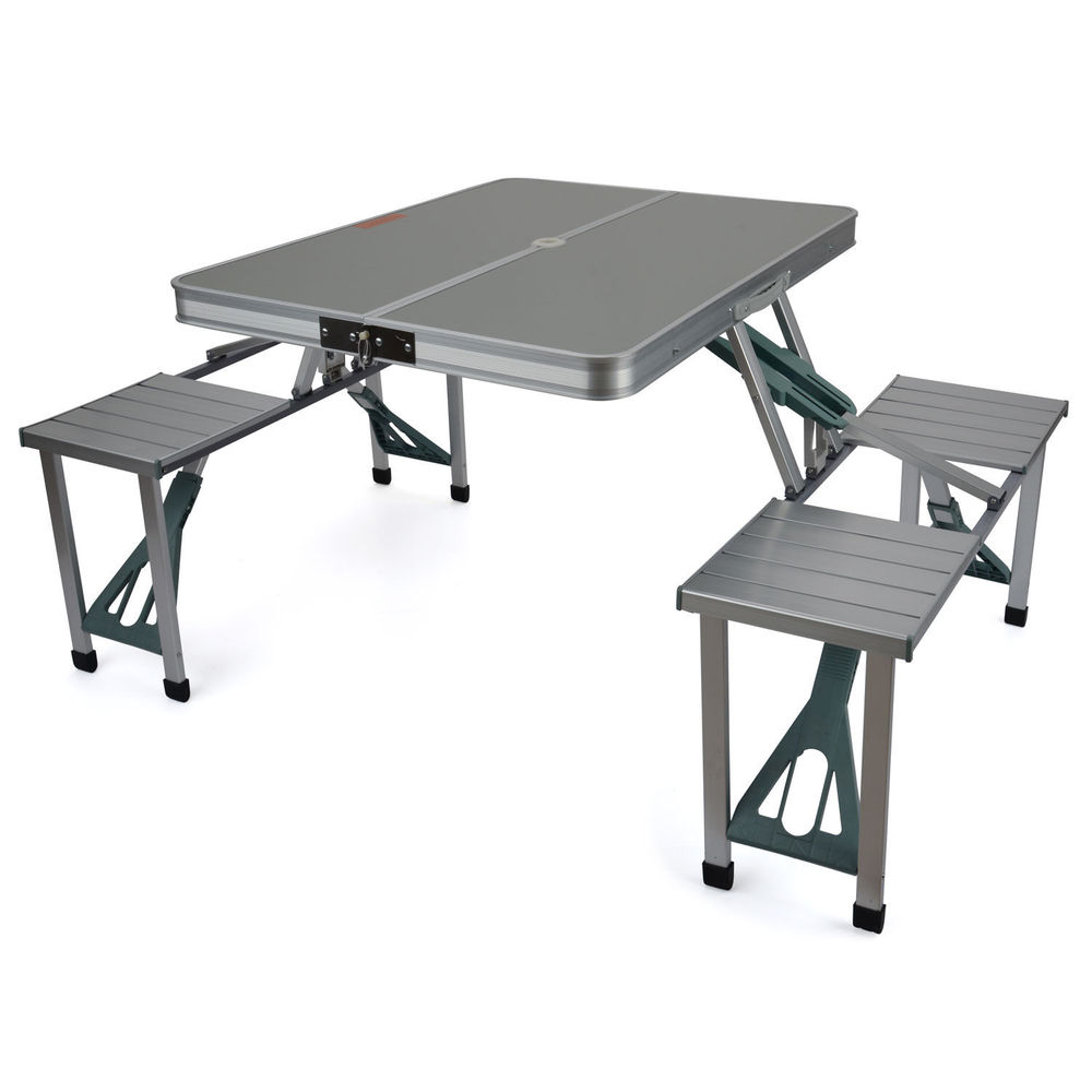 Awesome folding camping table and chairs trail aluminium portable folding camping outdoor bbq picnic table chairs set xkdsfuu