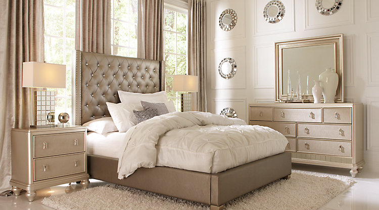 Awesome king bedroom furniture sets sofia vergara paris silver 5 pc king upholstered bedroom yfzbaqp