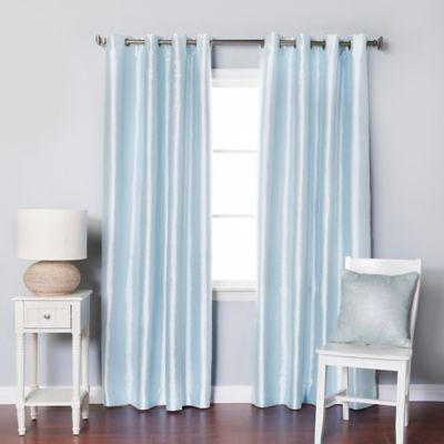 Awesome light blue blackout curtains decorinnovation solid faux silk 84-inch blackout grommet top window curtain  panel pair nybvmim