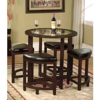 Awesome round dining table and chairs cylina solid wood round dining set in dark brown with glass top pkhloqo