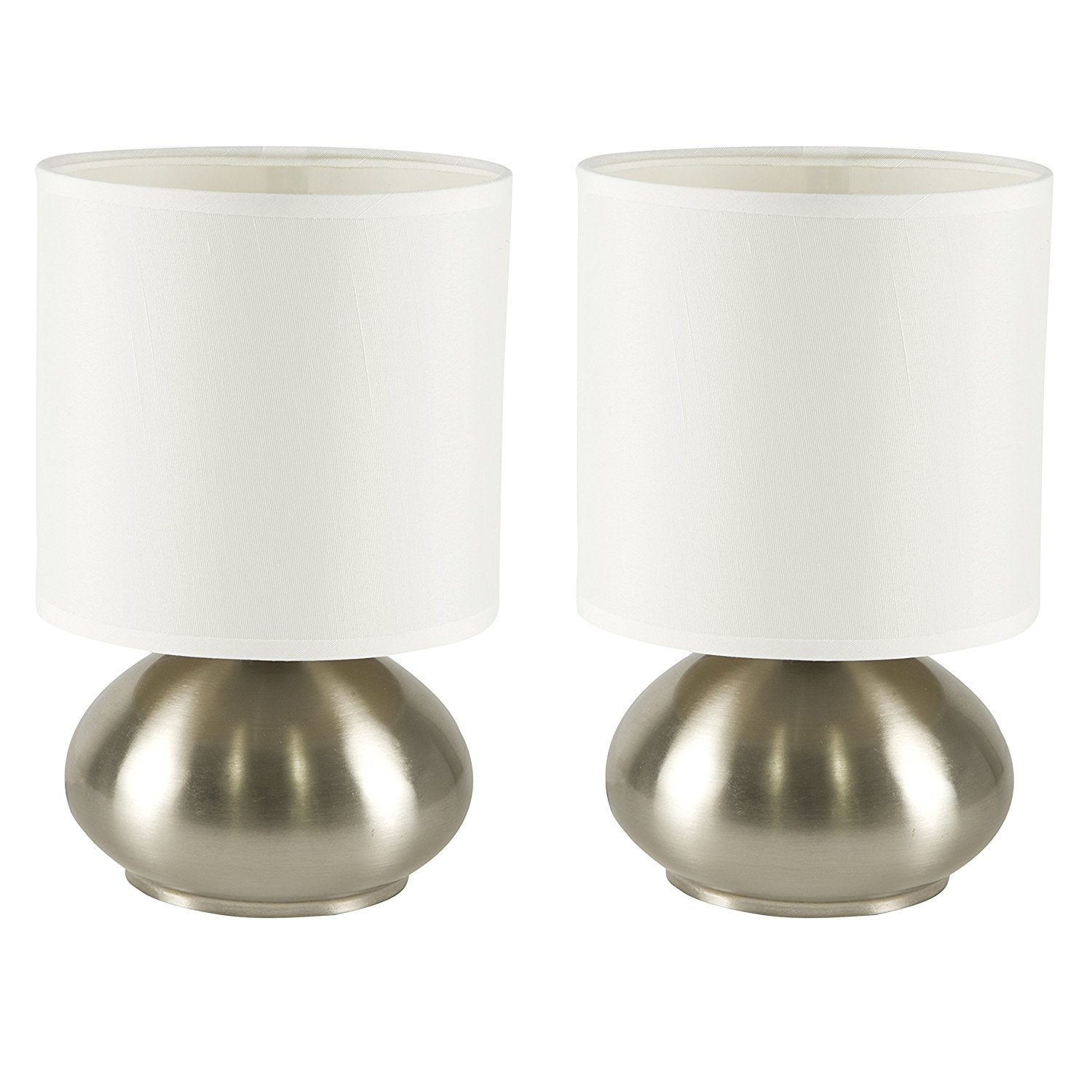Awesome side table lamps for bedroom light accents touch table lamps brushed nickel with fabric shades and  3-stage cmjzqoq