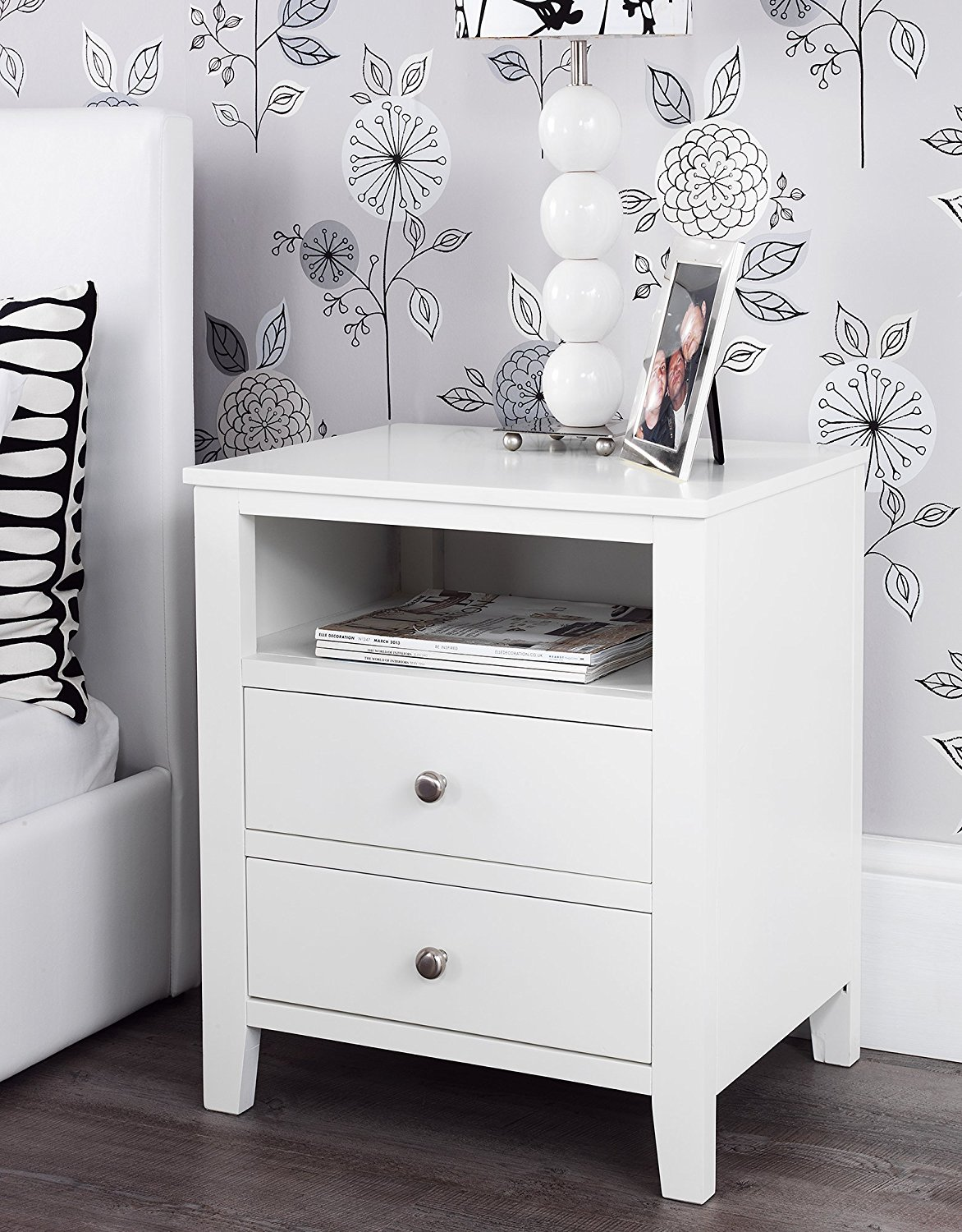 How to decorate white bedside table with drawers