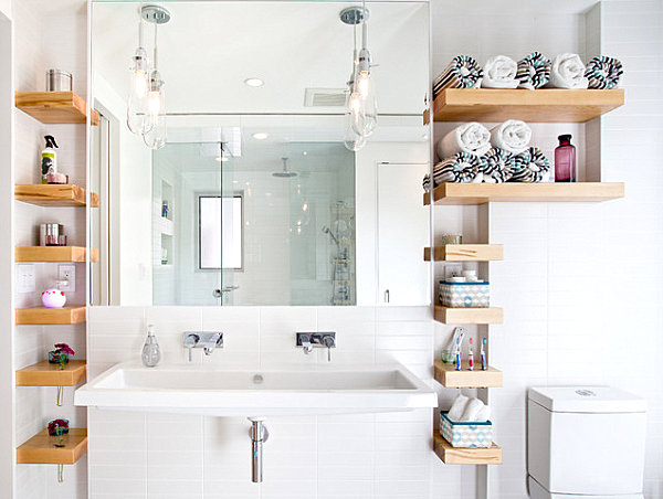 Beautiful bathroom storage solutions view in gallery open shelving for bathroom storage cyefylt