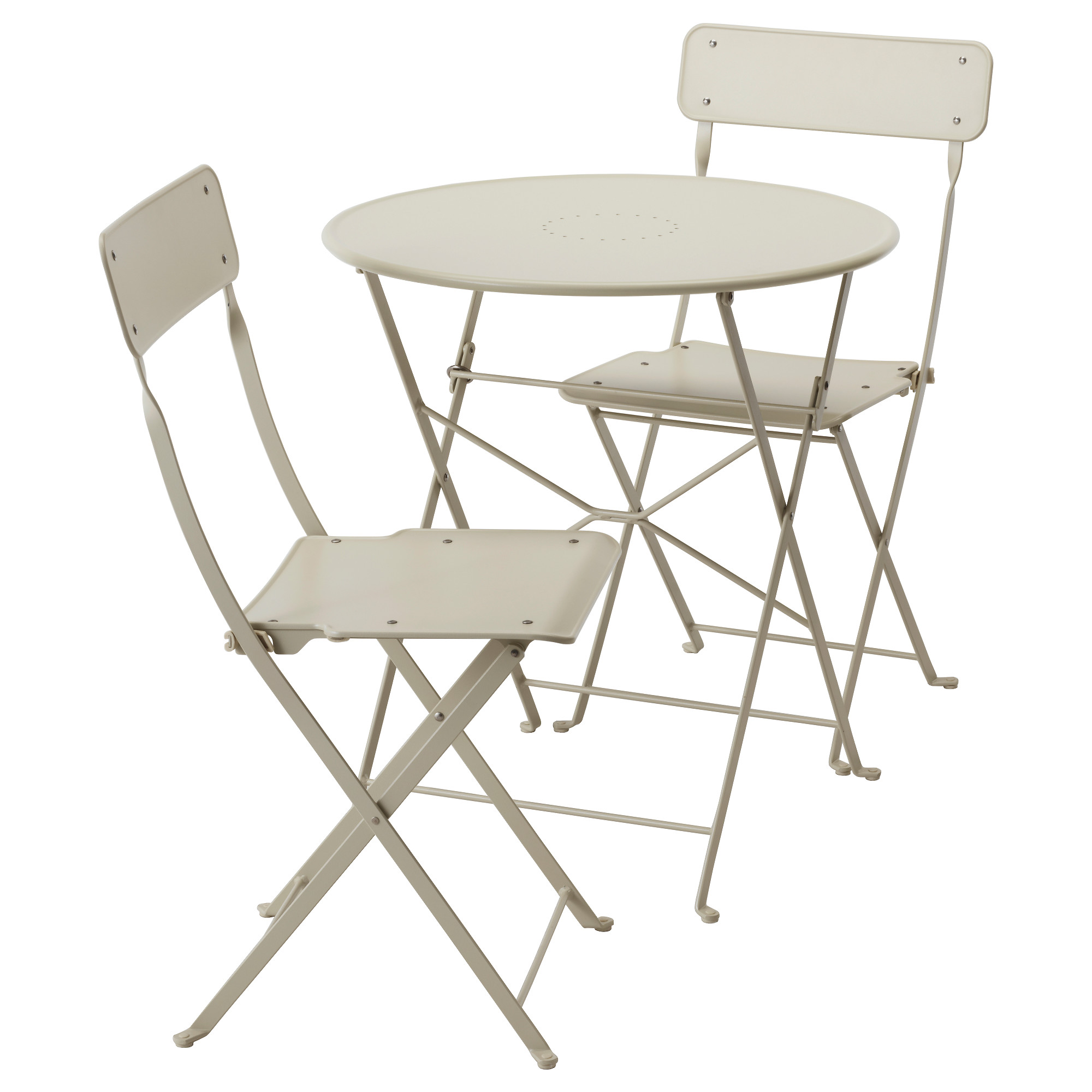 Beautiful folding chairs and tables saltholmen table and 2 folding chairs, outdoor, beige mcvhyrw