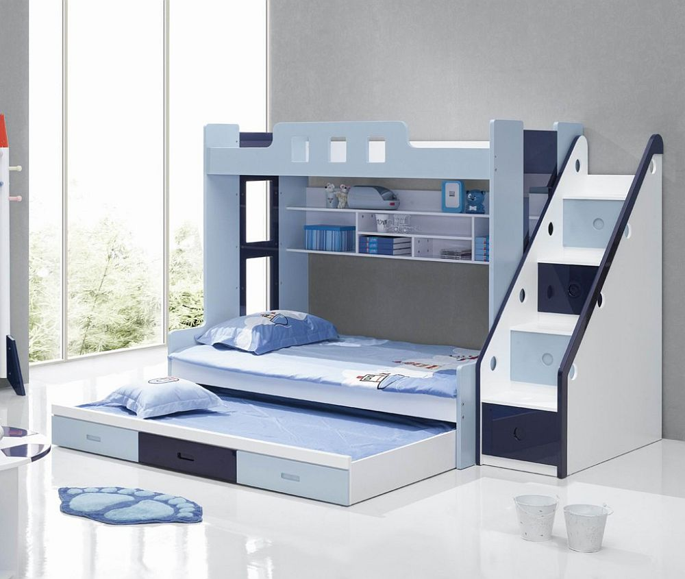 Beautiful kids bunk beds with stairs view in gallery blue and white bunk beds with stairs wylxxnd
