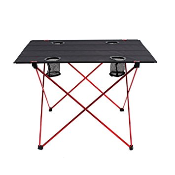 Beautiful outry lightweight folding table with cup holders, portable camp table (l - kchyaqk